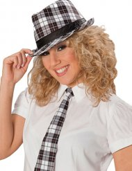 Cravatta punk a quadri bianco e nero per donna