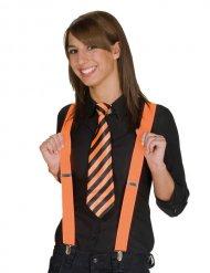 Cravatta a righe arancione e nera per donna