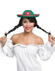 Cappello tirolese verde e rosso per donna Oktoberfest