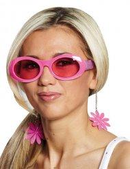 Occhiali rosa disco a fiori