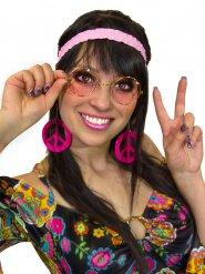 Kit hippie anni 60 70 donna rosa