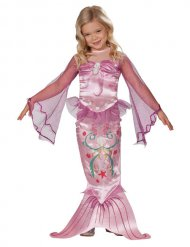 Costume rosa da sirena per bambina