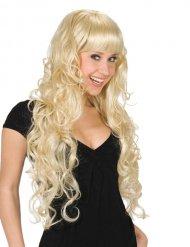 Parrucca lunga bionda con frangia per donna