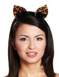 Cerchietto con orecchie da leopardo per donna