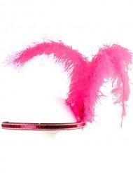 Fascia charleston con piuma rosa