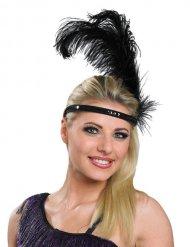 Fascia charleston nera con piuma per donna