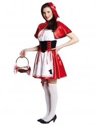 Costume da Cappuccetto Rosso satinato per donna