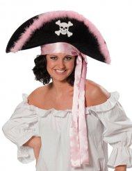 Cappello da pirata nero e rosa per donna