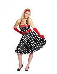Costume nero a pois bianchi anni 50 per donna