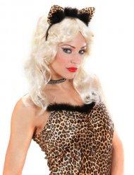Cerchietto leopardato con orecchie per donna