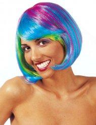 Parrucca fluo multicolore carré per donna