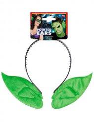 Cerchietto con orecchie da elfo verdi per adulto