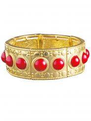 Bracciale dorato con pietre rosse per donna