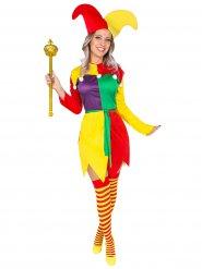 Costume da giullare multicolore per donna