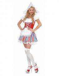 Costume Drindl rosso e bianco da donna