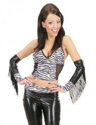 Maniche stampate zebra con frange