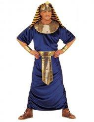 Costume da faraone egiziano blu e oro per uomo