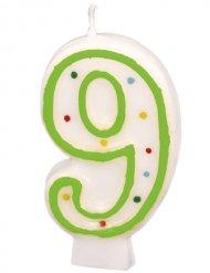 Candela di compleanno numero 9 bordo verde 6 cm