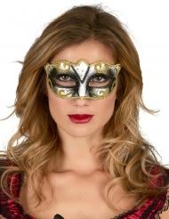 Image of Maschera veneziana dorata con brillantini per adulto
