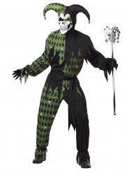 Costume giullare malefico verde per uomo Halloween