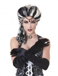 Parrucca barocca bianco e nero donna vampiro strega