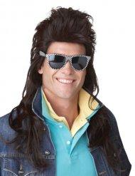 Parrucca rock anni 80 nera per uomo