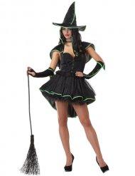 Costume da strega sexy nero e verde per donna
