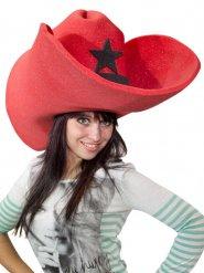 Cappello gigante cowboy rosso adulto
