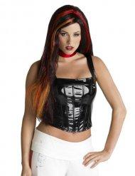 Parrucca gotica nera con meche rosse adulto