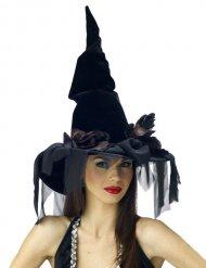 Cappello nero da strega con velo halloween