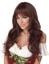Parrucca capelli lunghi ondulati ramati con frangia !