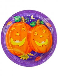 Piatto per halloween zucche divertenti 23 cm