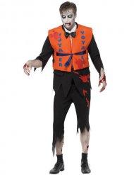Costume da zombie naufrago arancio e nero per uomo