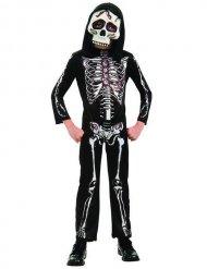Costume da scheletro bianco e nero per bambino