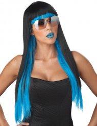Parrucca con capelli lunghi neri e blu