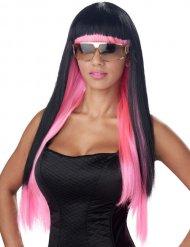 Parrucca lunga da pop star nera e rosa