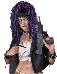 Parucca punk gotica lunga nera e viola per donna