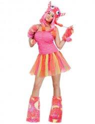 Costume da mostro rosa e arancione per donna