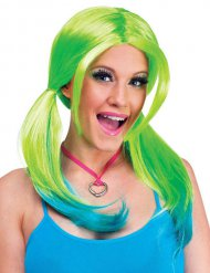 Parrucca verde e blu