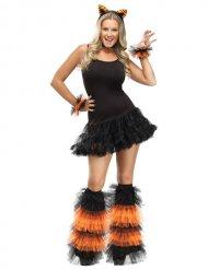 Ghette e bracciali neri e arancio da donna