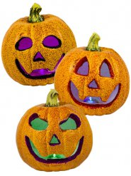 Zucche luminose con brillantini Halloween