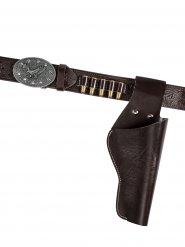 Cinturone cowboy con revolver per adulto