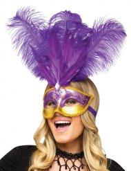 Maschera veneziana con piume viola
