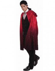 Mantello da vampiro rosso e nero con cappuccio per adulto