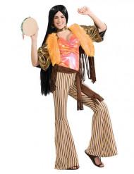 Costume hippie anni 60/70 satinato per donna