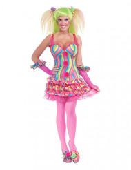 Costume da clown sexy multicolor per donna