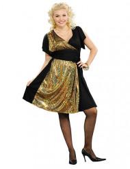 Costume disco nero e dorato per donna