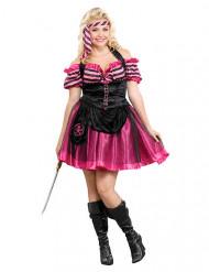 Costume da pirata sexy nero e rosa taglia grande donna