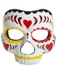 Mezza maschera dia de los muertos multicolore