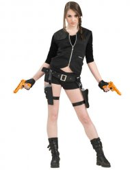 Cintura con foderi e 2 pistole arancioni per donna